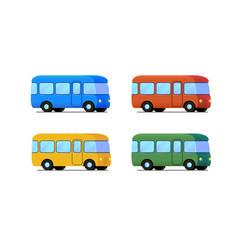 cartoon bus icon set color car vector image