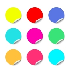 Color round stickers with curled edge vector image vector image