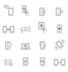 Communication icon set outline vector image