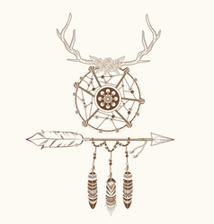 dream catcher horns arrow feathers decoration vector image
