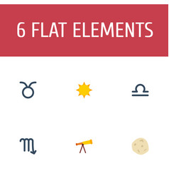 Flat icons bull optics comet and other vector