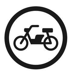 no motorcycle prohibition sign line icon vector image