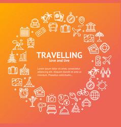 travel round design template line icon concept vector image