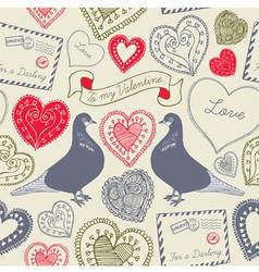 Vintage Love Birds Valentines Card vector image