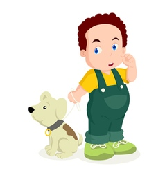 A Boy With His Dog vector image vector image