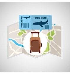 airline ticket map travel fashion suitcase vector image vector image