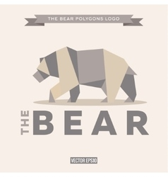 Bear logo origami with effects polygon and flat vector image vector image