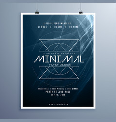minimal elegant music flyer template in blue vector image vector image