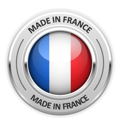Silver medal Made in France with flag vector image