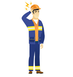Asian builder with lightning over his head vector