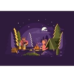 Camp is near a fire vector image vector image