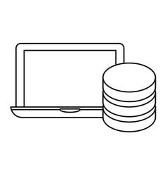 figure connected computer banner server design vector image