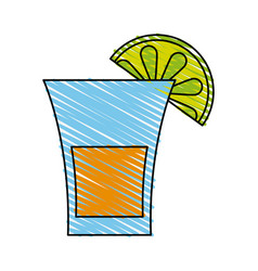 glass lemon doodle vector image