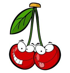 Red Cherry Mascot Cartoon Character vector image vector image