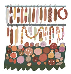 Sausage sale - many sorts on the shelves vector image