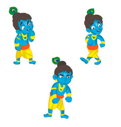 set of little krishna cartoon on a vector image vector image