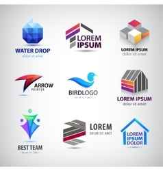 set of various logos Bird house team vector image