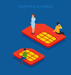 Sim card flat isometric concept web vector