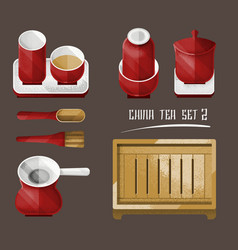 vintage chinese tea utensil collection vector image vector image