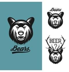 Bear head monochrome vintage vector image vector image