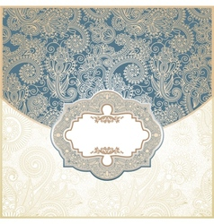 Blue and Gold Paisley Square Envelope vector image