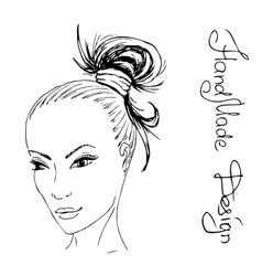 girl face painted by hand vector image vector image