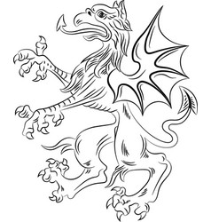 griffin heraldry symbol contour vector image