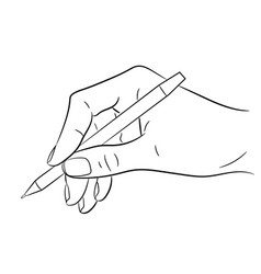 hand holding a pen on white background vector image vector image