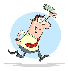 Happy Businessman Running With Dollar In Hand vector image vector image