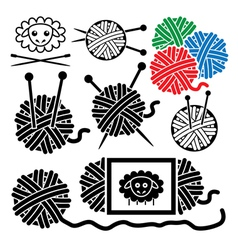 icons of yarn balls vector image vector image