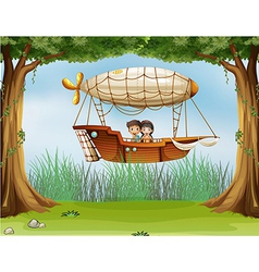 Kids riding in an airship vector image vector image