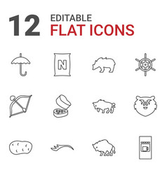 12 brown icons vector