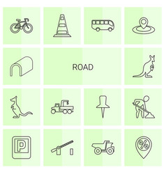 14 road icons vector image