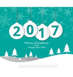 2017 Christmas balls on Merry Christmas and Happy vector