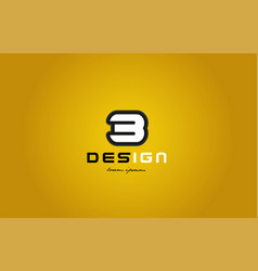 3 number numeral digit white on yellow background vector image