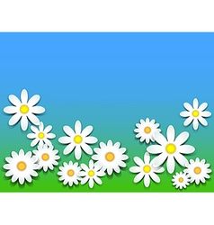 3d daisies over green grass and blue sky vector