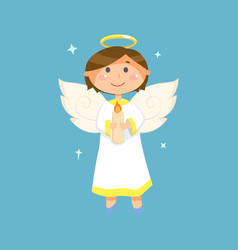 angel with candle christmas and valentines day vector image