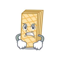 Angry waffle mascot cartoon style vector