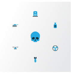 Army colorful icons set collection of bio hazard vector