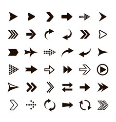 arrows set black arrow symbols pictograms vector image