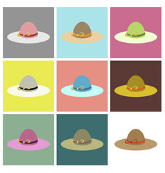 Assembly flat icons women hat vector