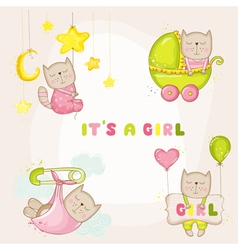 Baby girl cat set - for shower cards vector