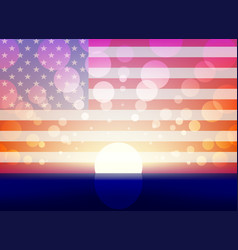 Background with sun and the us flag vector