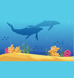 Beauty landscape underwater with whale silhouettes vector