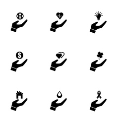 Black insurance hand icon set vector