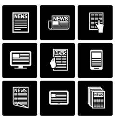 Black newspaper icon set vector