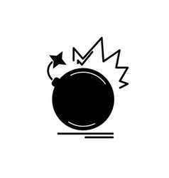 bomb black icon sign on isolated vector image