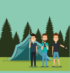Boys with smartphones in the camping zone vector