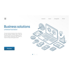 Business solutions modern isometric line vector