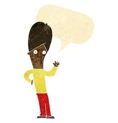 Cartoon man waving with speech bubble vector
